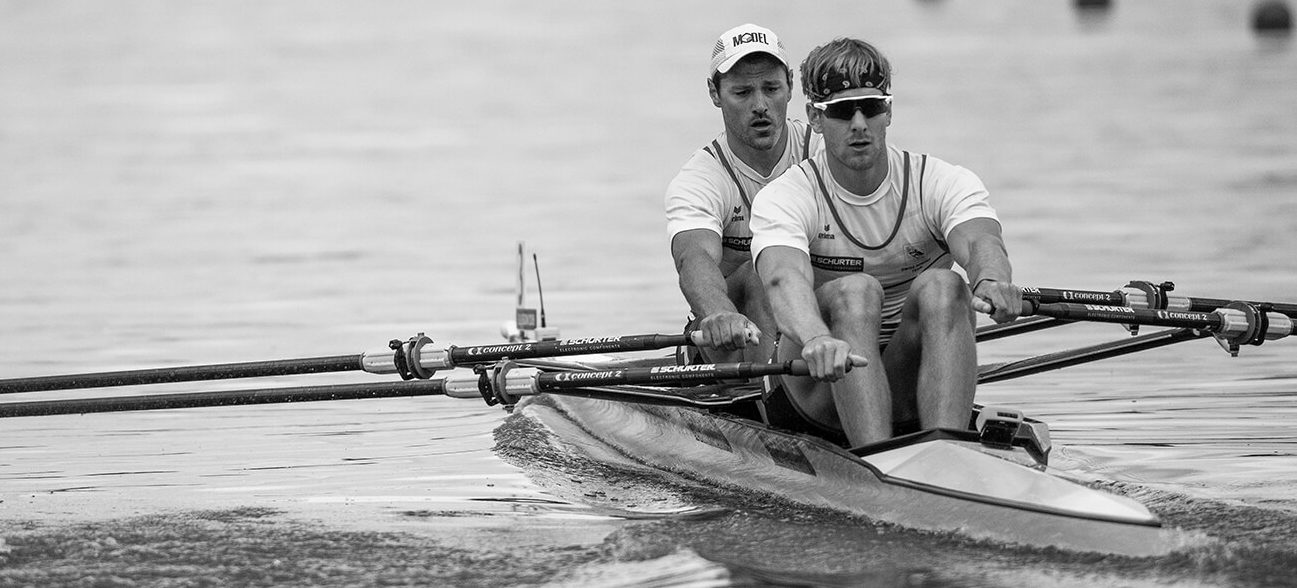 Swiss Olympic rower and Norway Omega ambassador, Barnabe Delarzé, training with a teammate