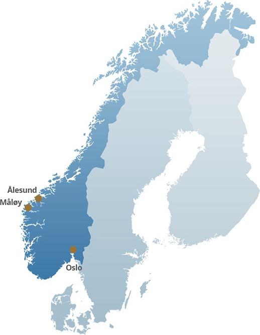 Map of Norway with Ålesund and other major Norwegian cities located