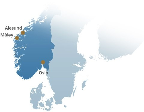Map of Norway with Ålesund and major cities located