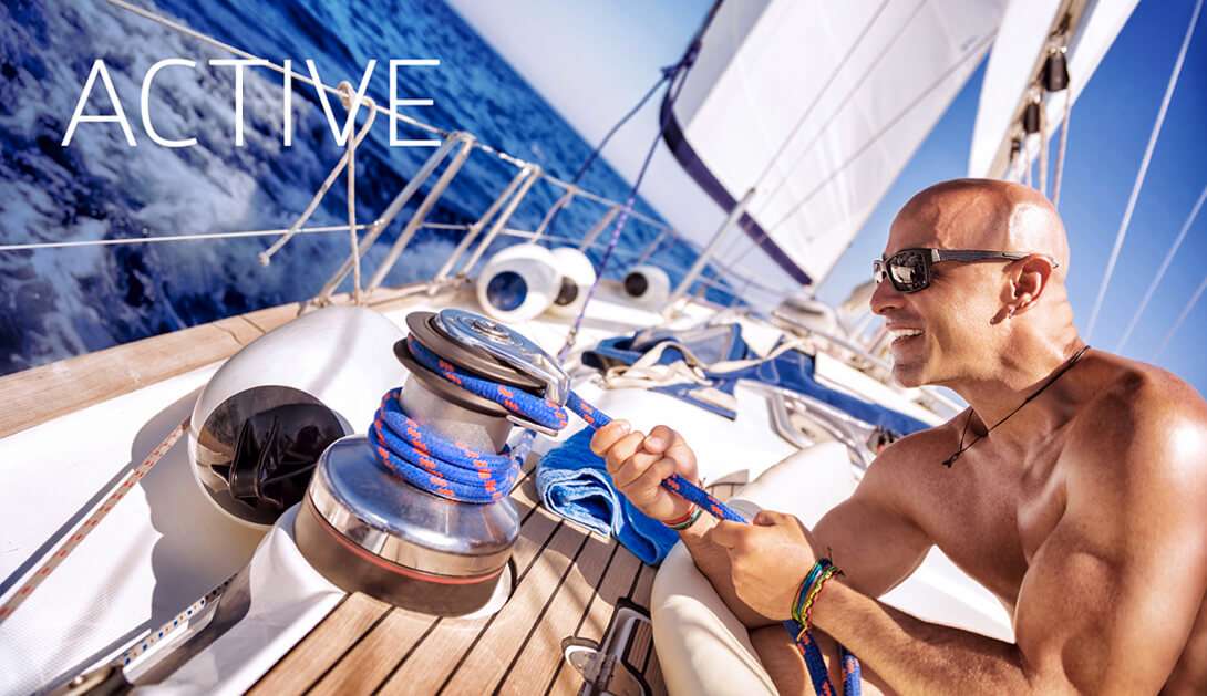 Fit and healthy yachtsman and advocate of Norway Omega on a boat