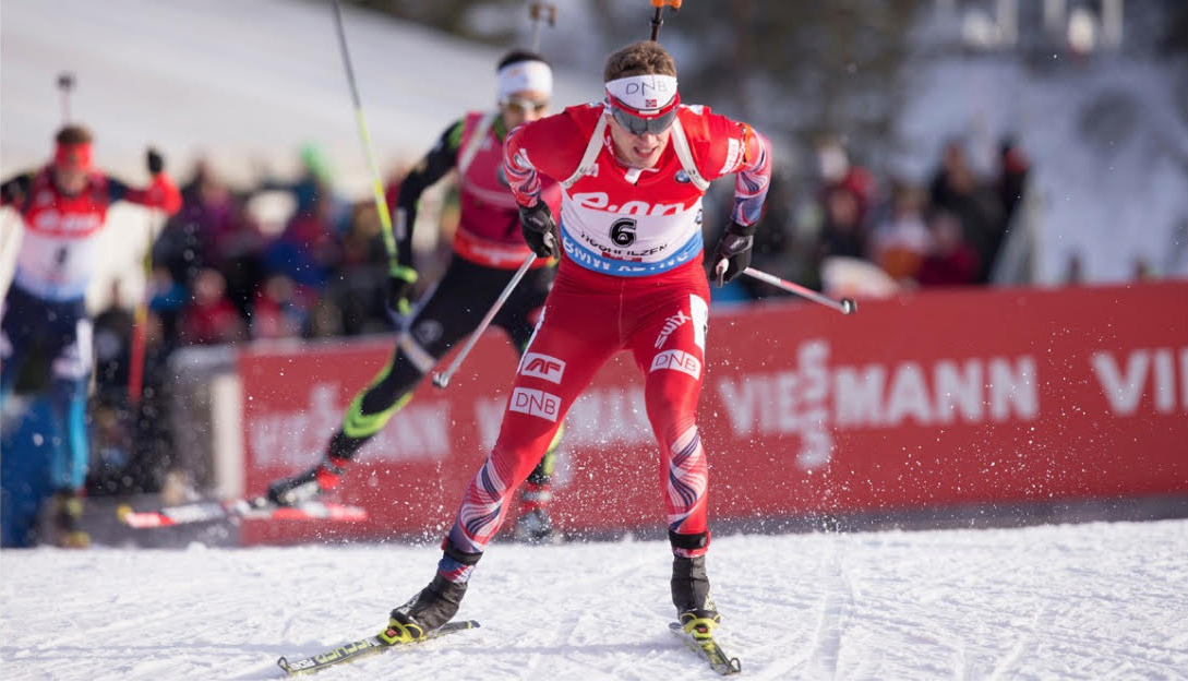 Norwegian Olympic athlete and Norway Omega ambassador, Tarjei Boe, competing in a Biathlon